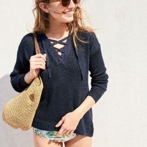 NWOT J. Crew Linen Lace-Up Beach Sweater Black